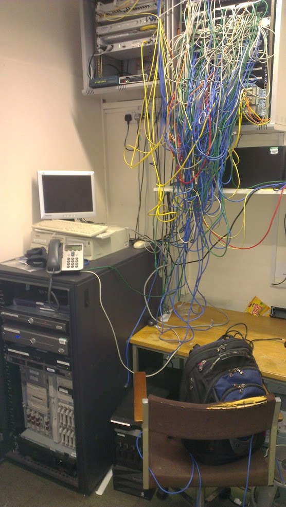 A hideous tangle of network cable